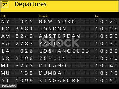 Airport arrival departure timetable flight
