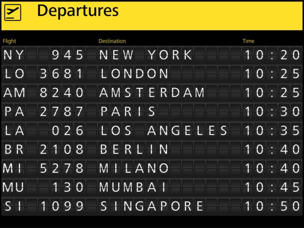 luchthaven aankomst vertrek tijdschema vlucht - vluchtschema stockfoto's en -beelden