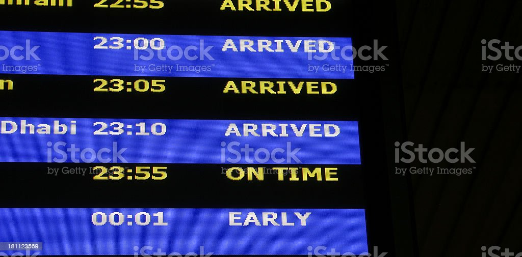 Airport Arrivals and Departure Display royalty-free stock photo