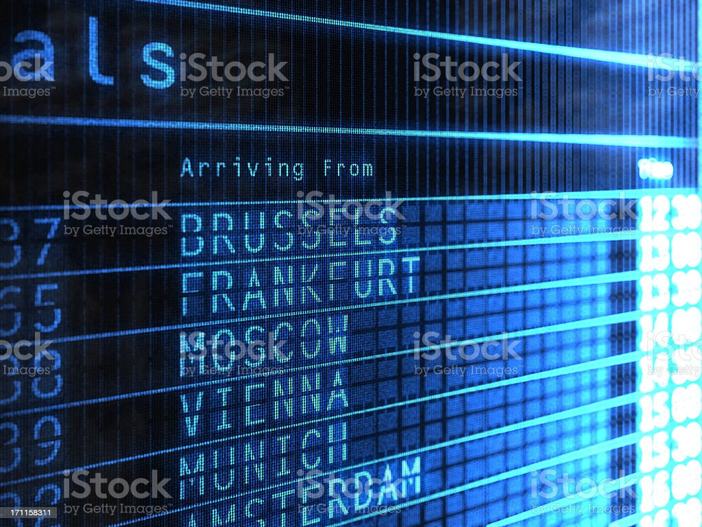 Airport Arrivals Board royalty-free stock photo