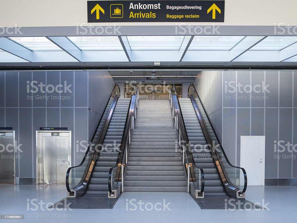 Airport Arrivals Escalator royalty-free stock photo