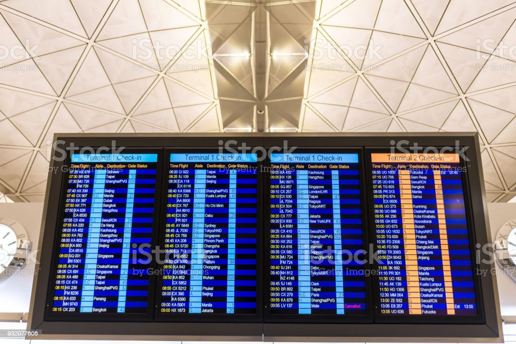 Airport Arrivals or Departures Board stock photo