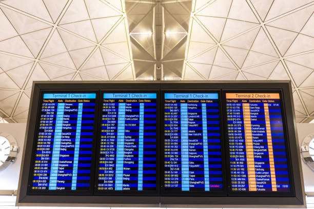airport arrivals or departures board - arrival departure board stock photos and pictures