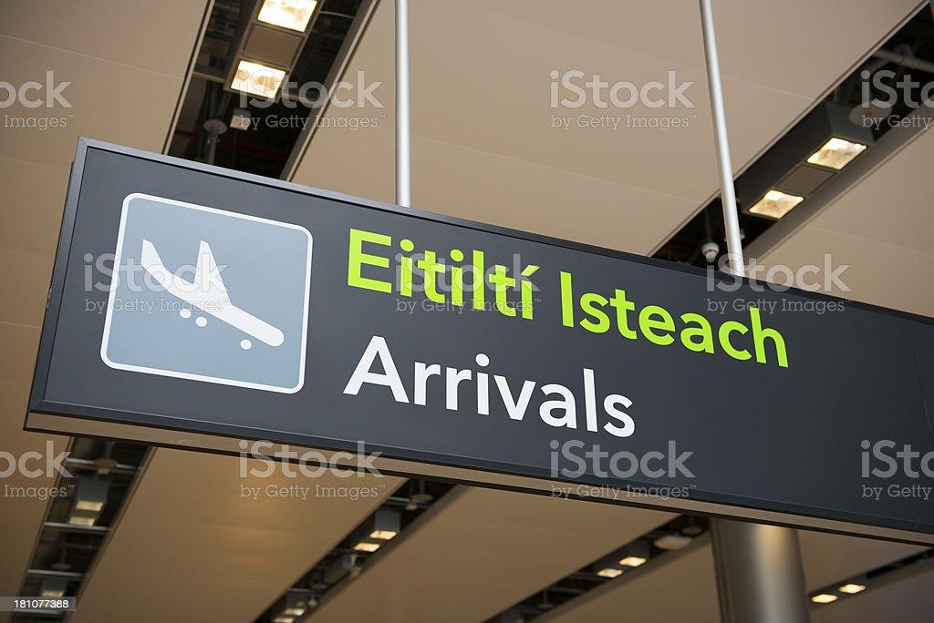Airport arrivals sign in Dublin, Ireland