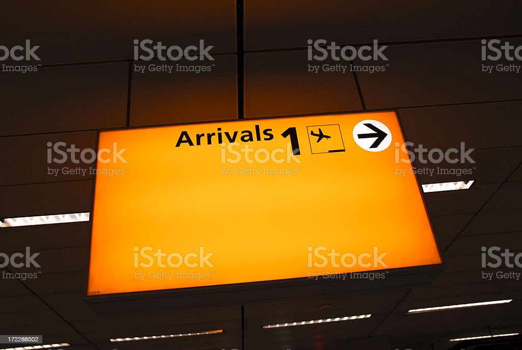 Airport Arrivals Sign royalty-free stock photo
