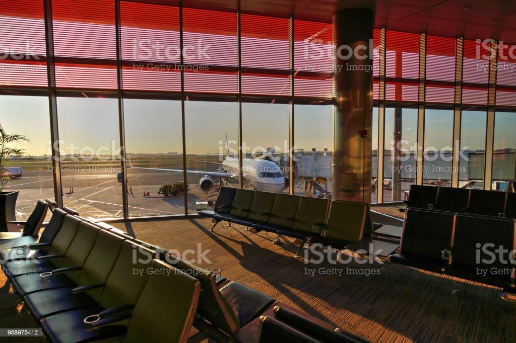 Airport at sunrise stock photo