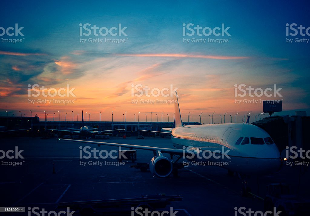 Airport at sunset royalty-free stock photo