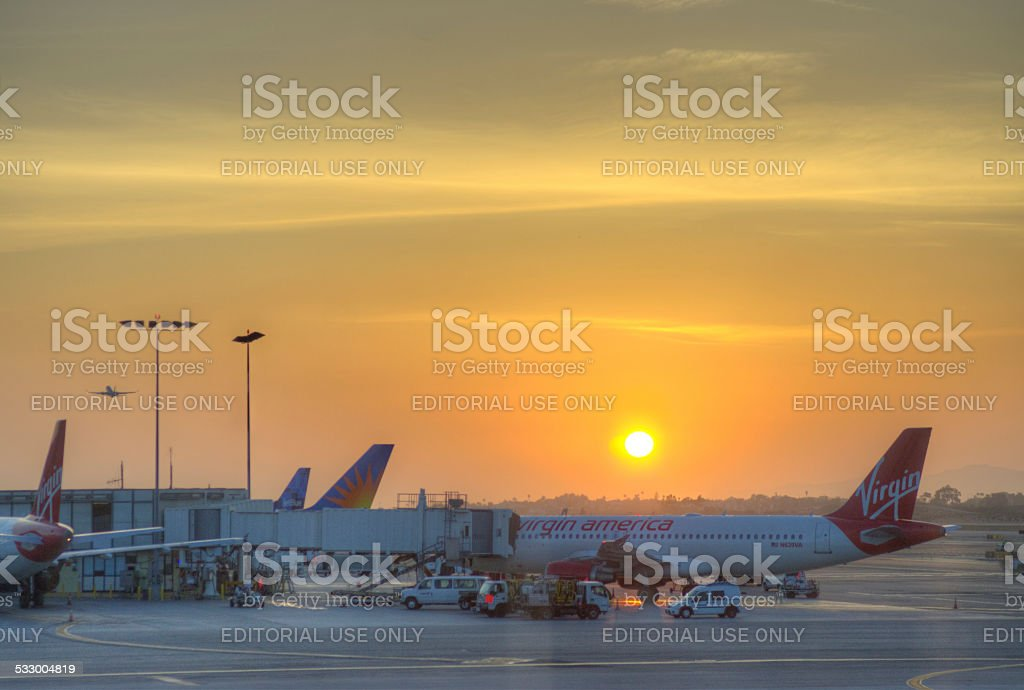 LA Airport at sunset stock photo
