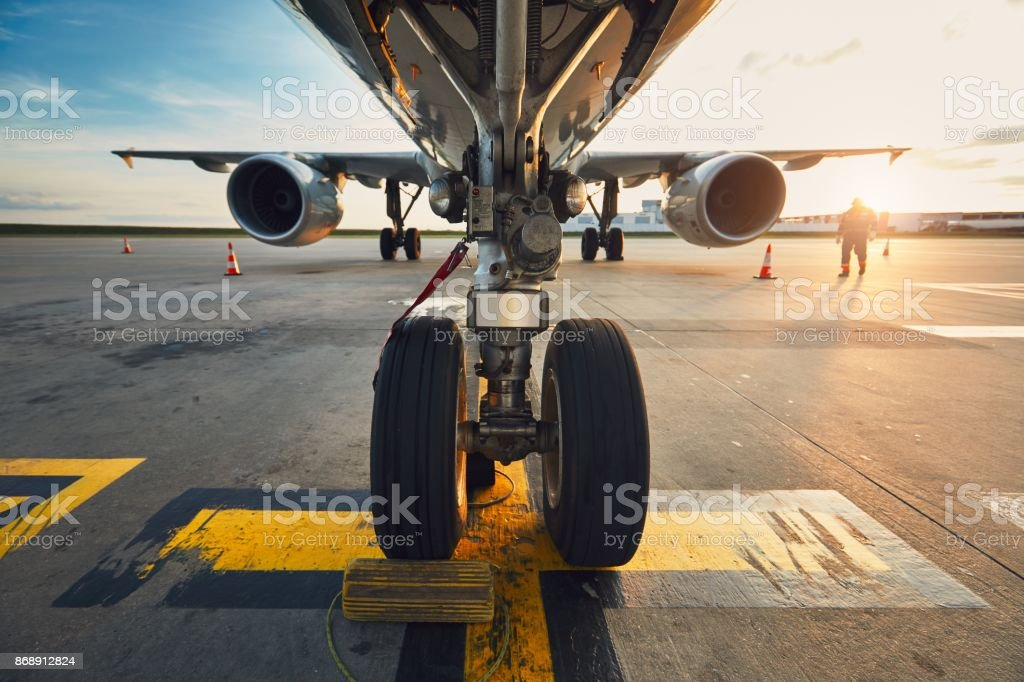 Airport at the amazing sunset stock photo