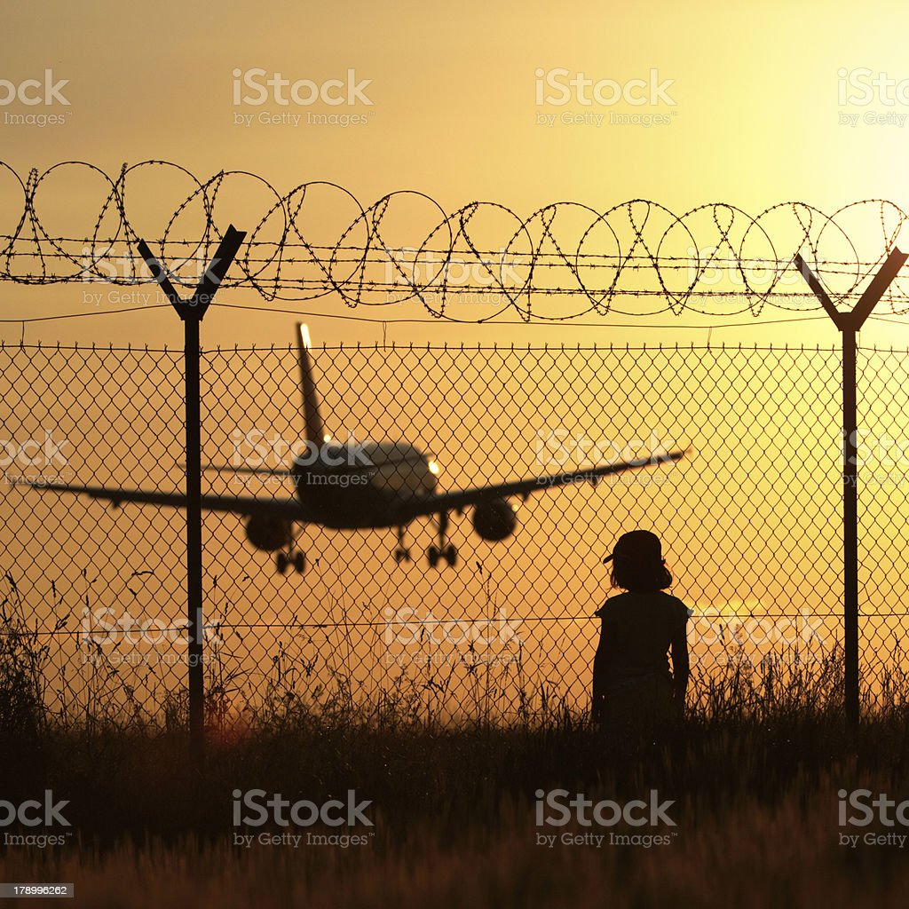 Airport at the sunset royalty-free stock photo