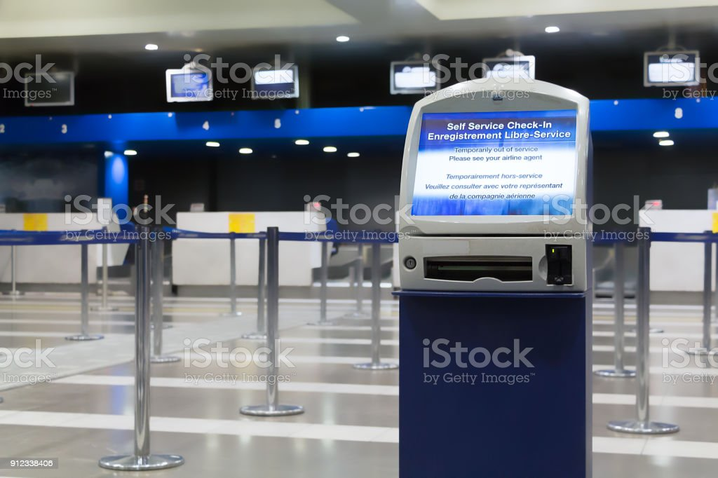 Airport Auto check-in machine out of service. stock photo
