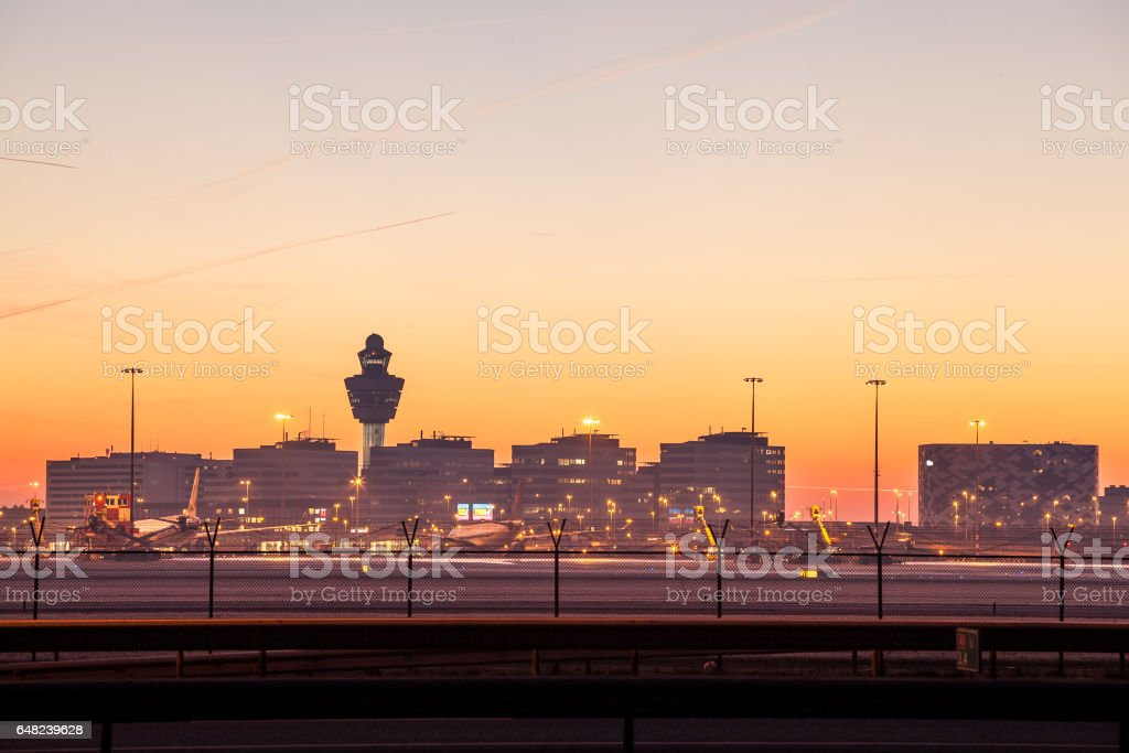 Airport background stock photo