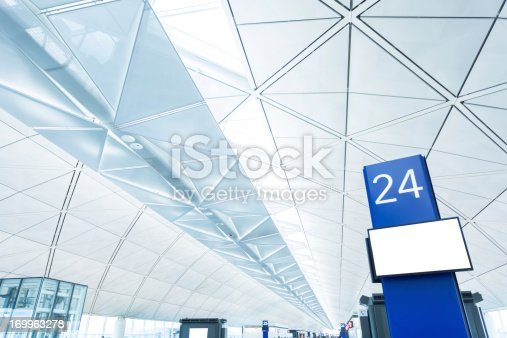 istock Airport Boarding Gate with Blank Screen 169963278