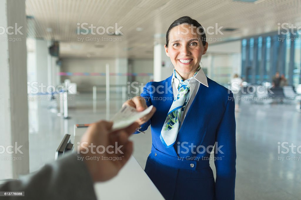 Airport boarding, getting ready for a new travel. stock photo