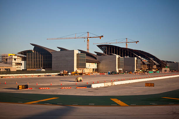 LAX Airport Bradley Terminal Construction in Warm Afternoon Light stock photo