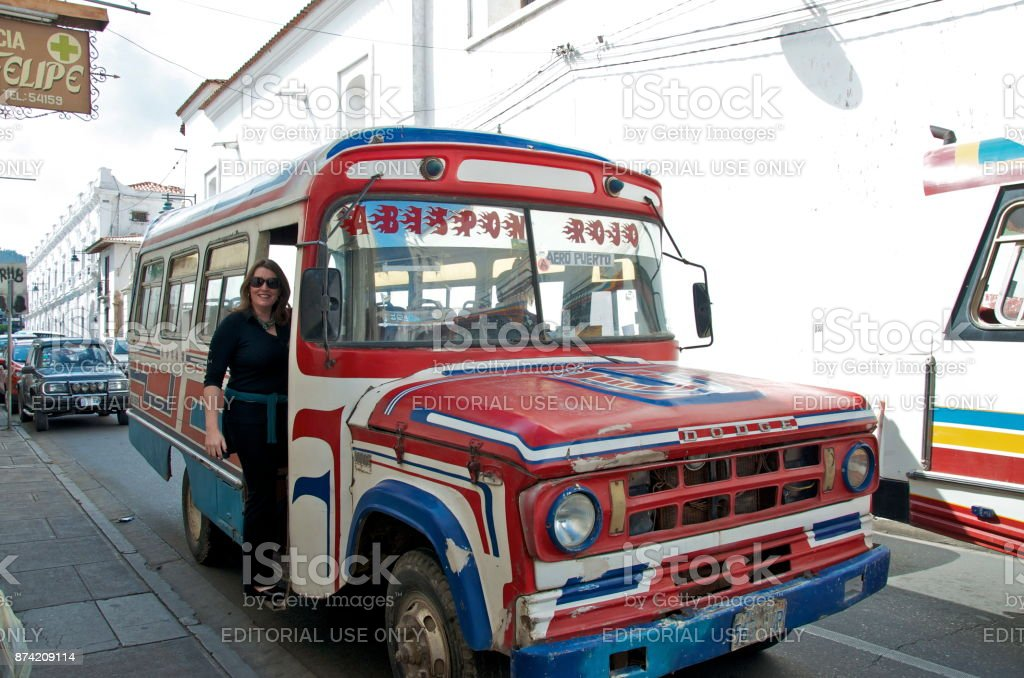 Airport Bus in Sucre stock photo