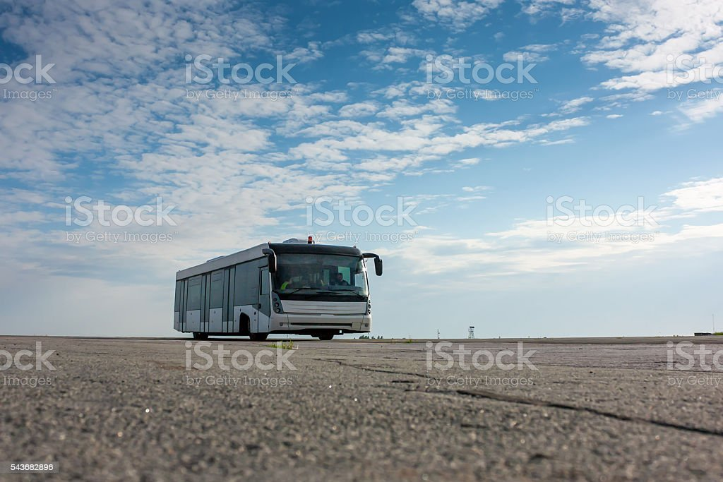 Airport bus on the apron royaltyfri bildbanksbilder