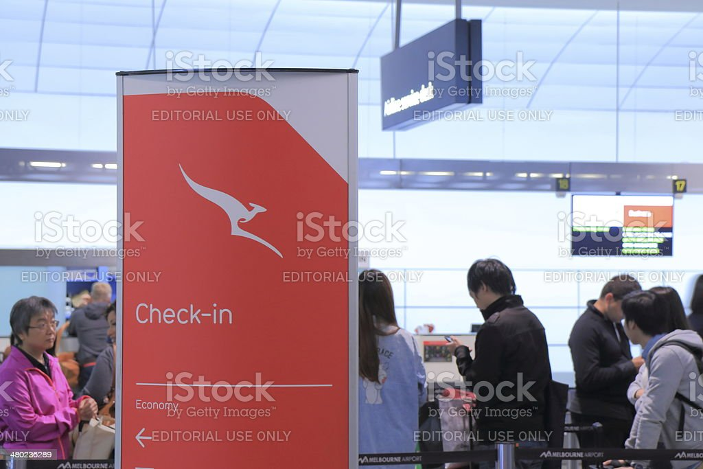 Airport check in counter stock photo