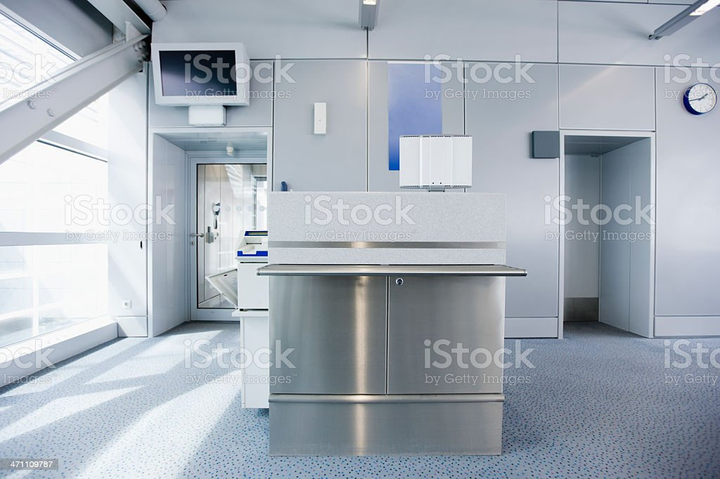 Airport Check-In Counter Modern Gate Interior stock photo