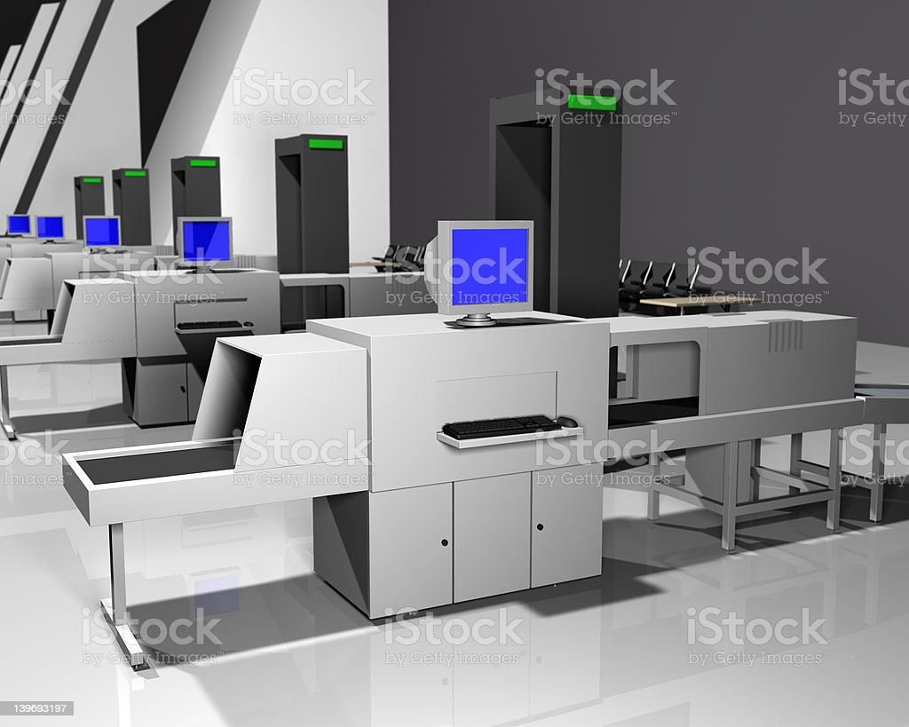 Airport Checkpoint 3D Render royalty-free stock photo