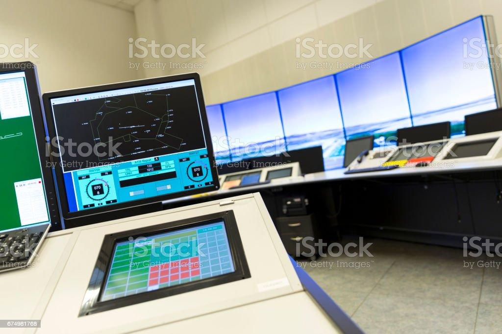 Airport control room stock photo