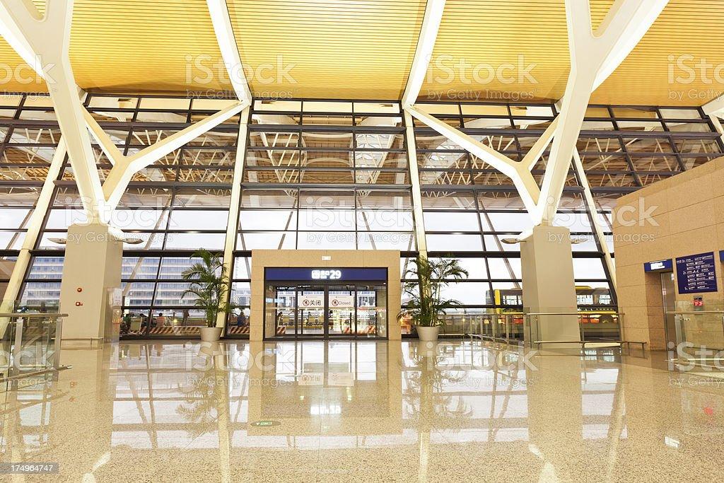 Airport corridor stock photo