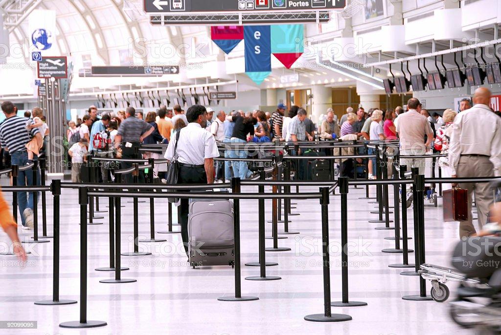Airport crowd stock photo