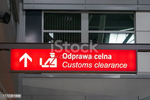 airport customs signboard icon in international airport at immigration control