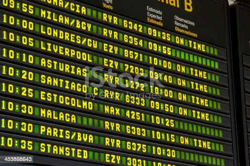 istock Airport departure board close-up 453868643