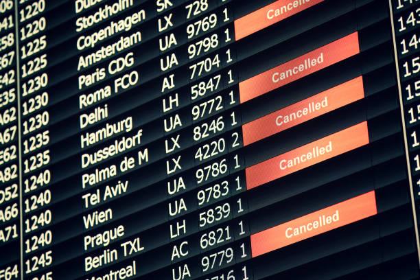 Airport Departure Board stock photo