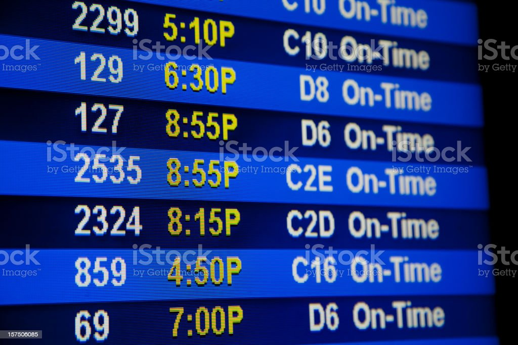 Airport Departure Board Showing Gate Numbers, Flight Times, Schedule stock photo