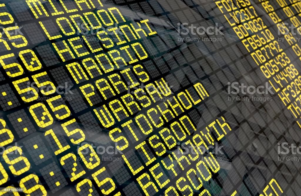 Placa de partida do aeroporto para destinos europeus - foto de acervo