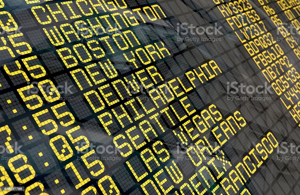 Airport Departure Board with USA destinations stock photo