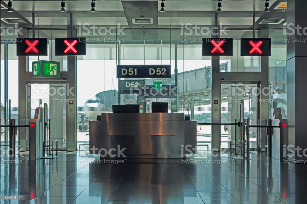 Airport departure lounge gates closed stock photo