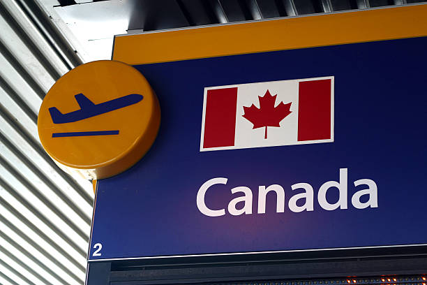 Airport Departure Sign Canada stock photo
