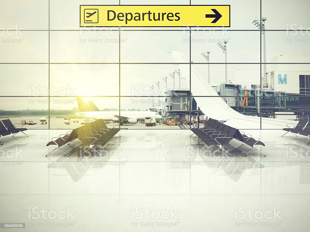 Airport departure sign in terminal lounge stock photo
