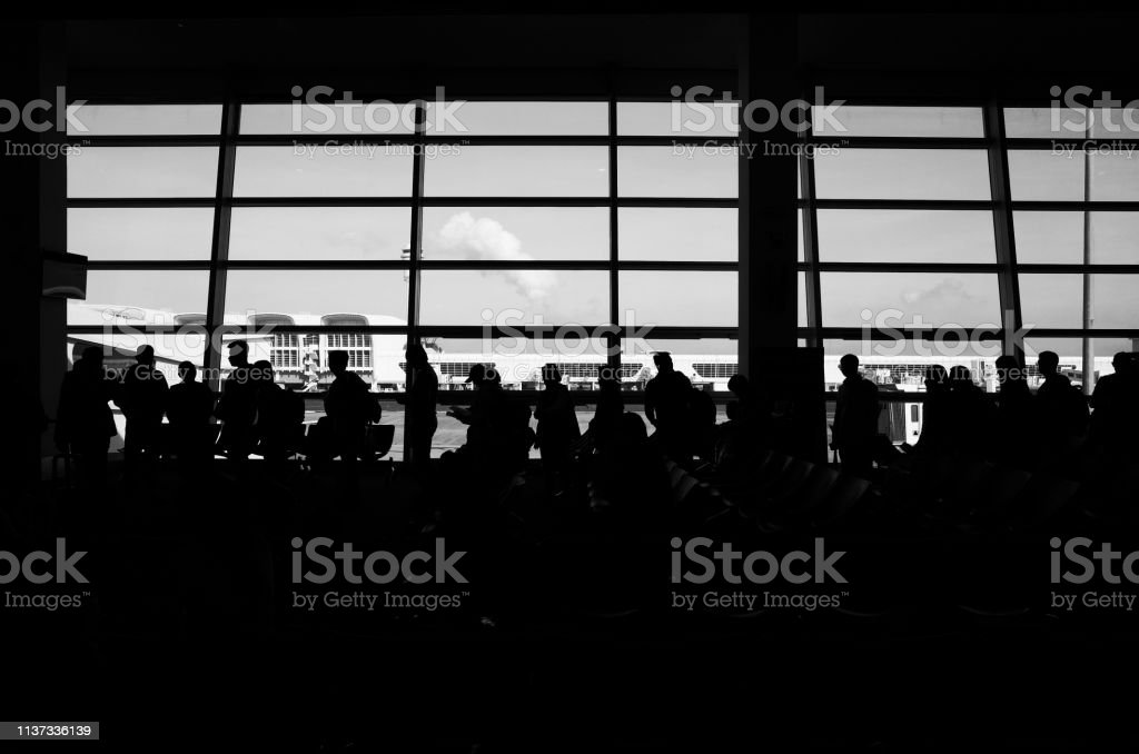 Airport departure silhouette stock photo