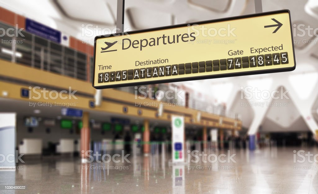 Airport departures board going to Atlanta stock photo