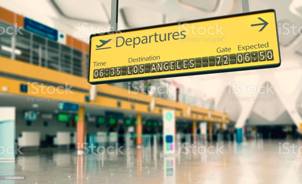 Airport departures board going to Los Angeles stock photo
