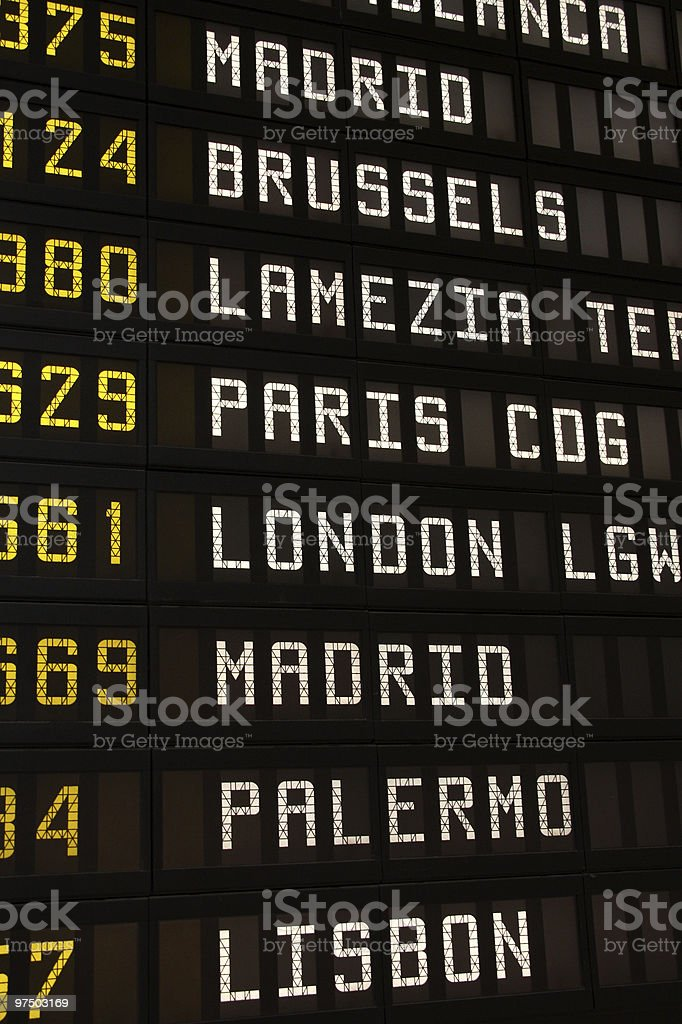 Airport departures board royalty-free stock photo