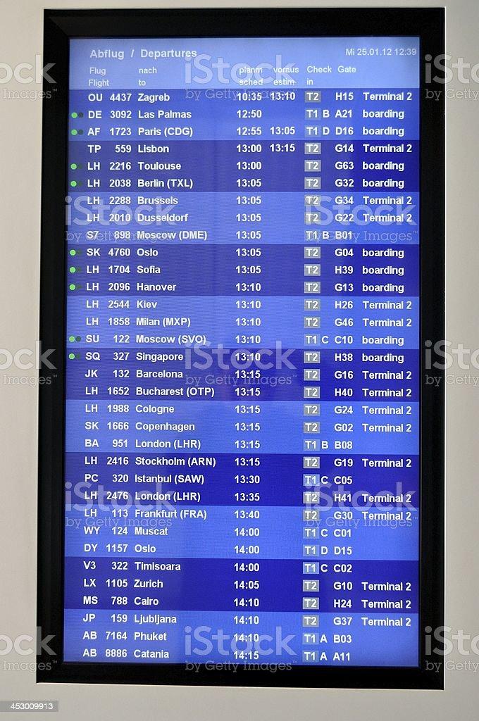 Flughafen Abflüge board Informationen – Foto