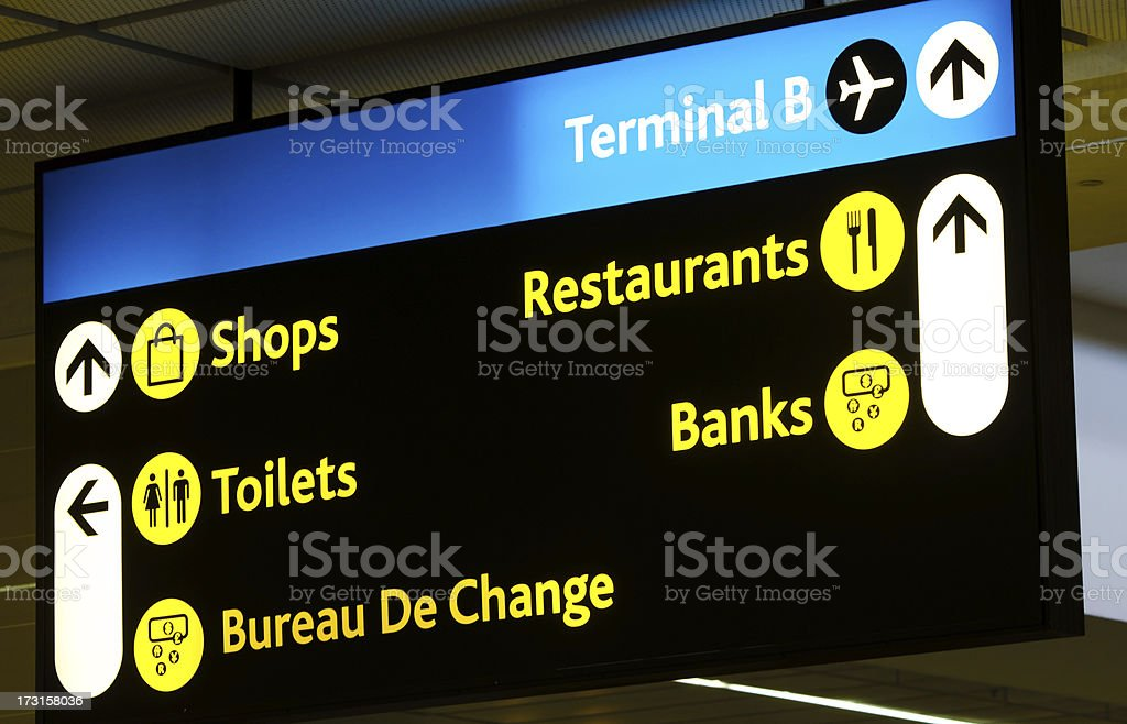 Airport Direction Board stock photo