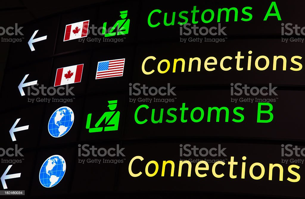 Airport direction signs with pictures on a black board stock photo