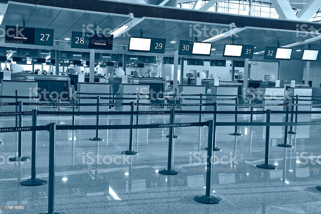 Airport empty check-in stock photo
