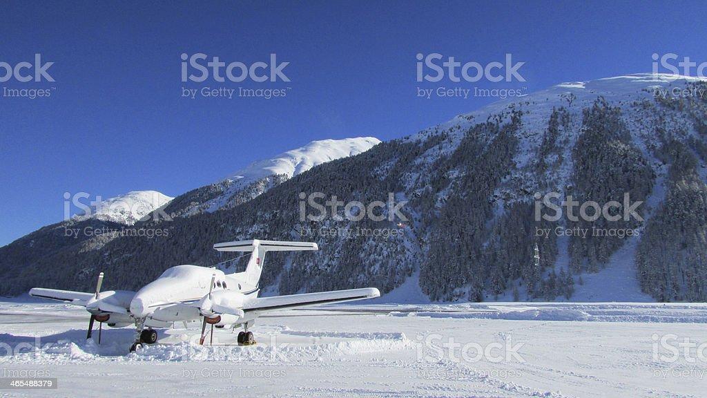 Airport Engadin stock photo