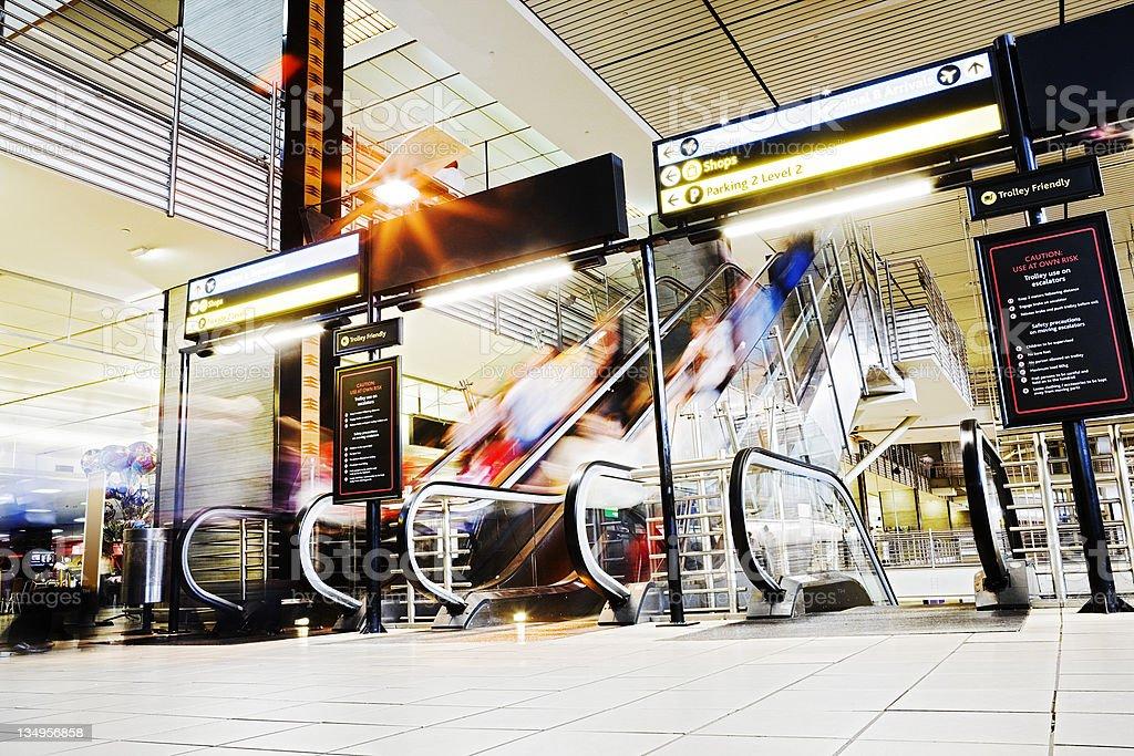 Airport escalators royalty-free stock photo