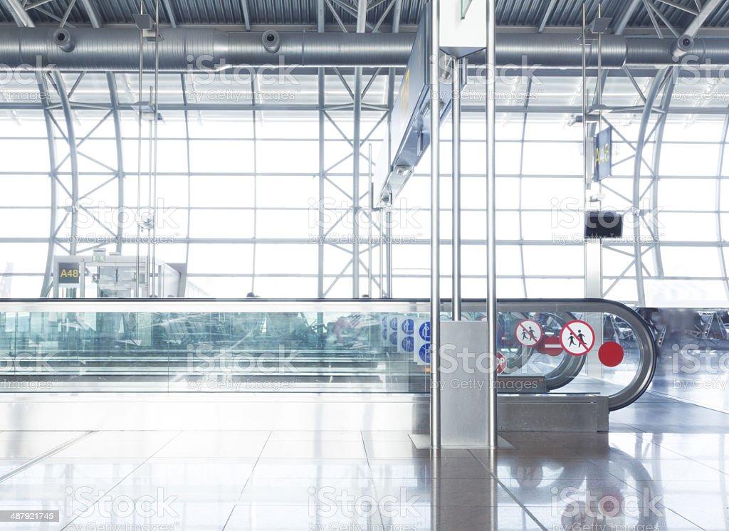 Airport escalators stock photo