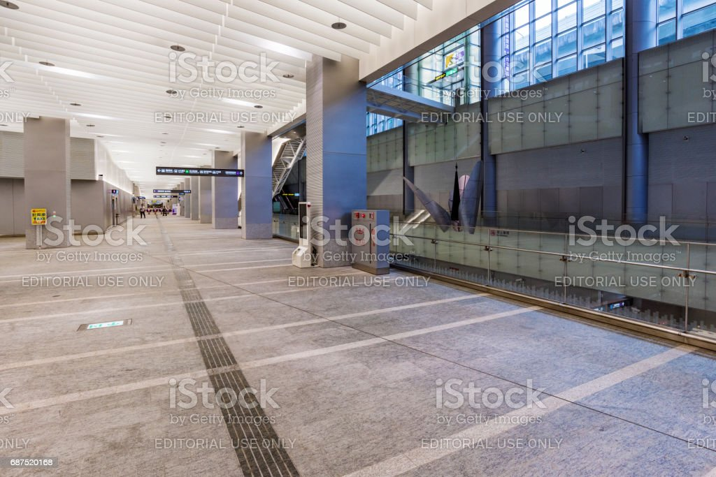 Airport express train hall in Taipei main station stock photo