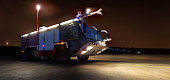 airport fire fighter truck at night