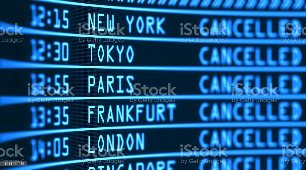 Airport flight board. Digital display of the arrival and departure information stock photo